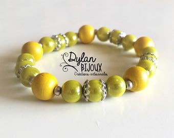 Yellow and khaki bracelet clear - nickel free