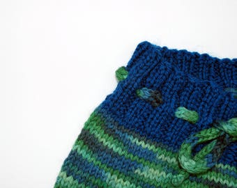 Hand Knit Wool Shorties, Wool Diaper Cover, nighttime nappy Lagoon size 6 to 12 months natural parenting