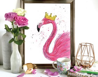Flamingo Crown Print, Illustration, Wall Art, Drawing A4, A5