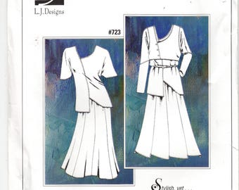 Tunic Asymmetrical Vest Skirt, Stylish, Simple Construction, Comfortable to Wear, LJ Designs #723 Sewing Pattern XXS-4X Uncut