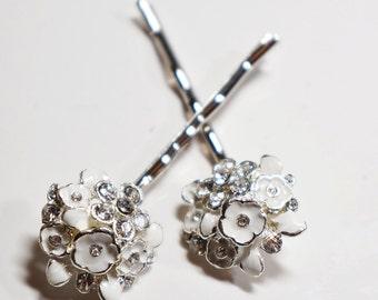 Strass blanc émail fleur épingle à cheveux ensemble