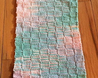 Green and Pink Baby Burp Cloth - 100% Cotton -Hand Knit