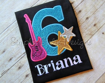 Rock Star birthday shirt. Rock and roll birthday. Guitar birthday. Girl's birthday. Customize to match your party theme.