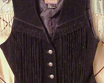 Women's Black Leather Fringe Vest Cripple Creek