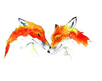 Foxes in Love ... Art Print of my original Watercolour Painting by Nancy Antoni