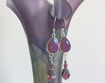 Swarovski Cyclamen Opal drop earrings
