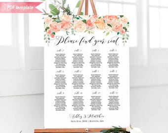 Printable Peach Cream Floral Seating Chart Board, Wedding Seating Plan PDF Template, 24x36 18x24 Large sign, DIY Instant Download #02