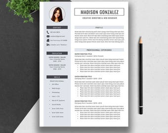 Resume Template Bundle, CV Template Bundle, Cover Letter, MS Word, Professional Modern Creative Simple Resume, Instant Download, Madison