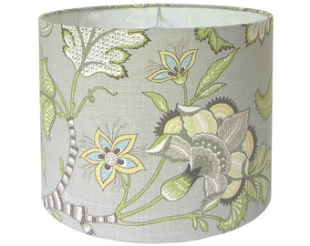 Custom Lamp Shade - Floral Lampshade - Grey Lamp Shades - Fabric Lampshades - Clarice/Cir by P Kaufmann in Dove - Made to Order