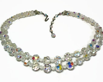 2 Strand AB Crystal Beaded Necklace with Graduated Beads & Rhinestone Accents Pave Set in Silver - Vintage 50's/60's Costume Jewelry