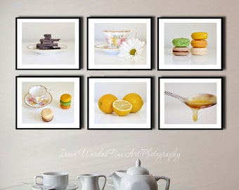 Dining room wall art, modern kitchen photography set 6 food art prints, kitchen pictures, restaurant art, still life food, foodie gift art
