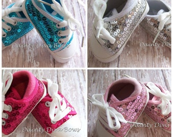 Sequin Baby Shoes, Soft Sole Shoes, Crib Shoes, Sequin Shoes, Photo Prop, Baby Booties, Clearance, Sale, Baby Shower Gift, Sequin Crib Shoe