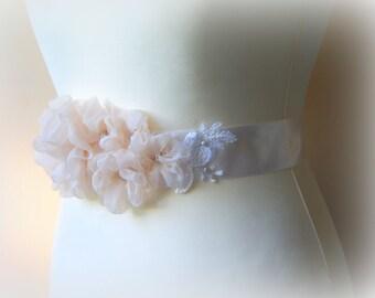 Bridal sash belt Rose color floral sash, Women sash Bride Flowers Pearls Beaded Lace Wedding Dress Sashes Belts
