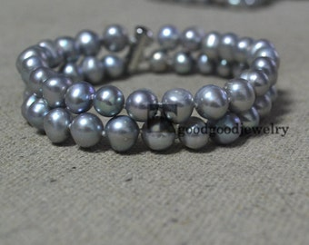 double strand gray pearl bracelet,2 rows 8mm real Freshwater Pearl Bracelet,silver gray bead,dyed gray pearl bracelet for wedding day