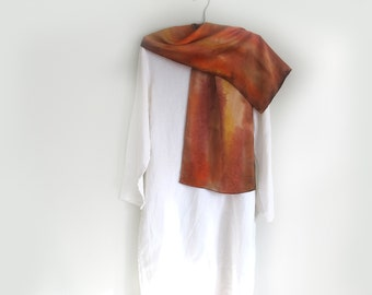Scarf, Silk Satin, Rust, Tan, Gold , Reddish Brown, Silky , Hand-painted