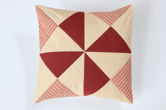 Rustic Red Quilted Ticking Stripe Pillow Cover