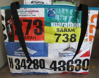 Race Bib Bag Custom Made from Your Race Bibs with inside pocket