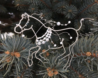 Wire Horse, Beaded Wire Horse Ornament, Silver and White
