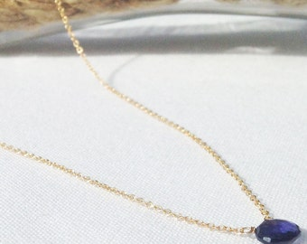 Iolite necklace - Gold Filled iolite Necklace - September Birthstone - Blue Violet Birthstone