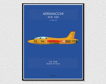 Downloadable poster for decoration, instant descargar, wall decor printable, airplane poster, plane drawing AERMACCHI MB 326