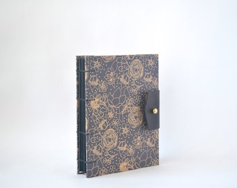 Black & Brown Floral Hardcover Journal, Hand Bound Coptic Journal, Handmade Journal with Reclaimed Leather and Brass Button