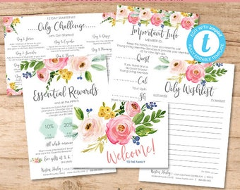 Essential Oil Stationary, New Member Welcome Bundle, Distributor Kit, Editable Template, Printable Marketing, Templett, Instant Download