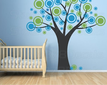Vinyl Tree Decal - Polka Dots - Modern - Baby Nursery Wall Decor - Circles - Childrens - Boy - Kids - Vinyl Wall Stickers -  Large 78x78
