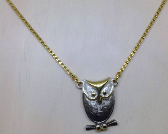 Vintage NS Signed Owl Pendant Choker or child's Necklace Gray Enamel Gold Tone Bird Jewelry
