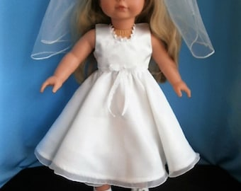 First Communion Set for 18 inch Dolls, includes Dress, Veil, Shoes, and silver cross  necklace