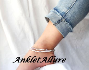Anklet Ankle Bracelet Amethyst Anklet February Beach Anklets for Women Beach Jewelry Double Anklet