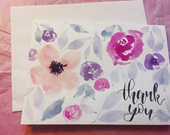 Watercolor Flowers Thank You Greeting Card Florals