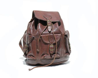 Vintage Dark Chocolate Brown Thick Leather Backpack