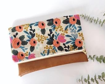 Floral Foldover Clutch | Rifle Paper Company Rosa Flora | Cute Purse | Vegan Leather Clutch