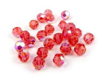 20 x beads round faceted Swarovski® 4 mm PADPARADSCHA AB Crystal
