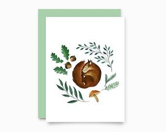 Sleepy Squirrel greeting card