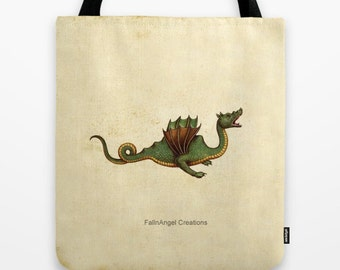 Medieval Green Dragon Tote Bag, 3 Sizes Available