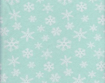 New! Mint SNowflakes Christmas Cotton lycra knit fabric