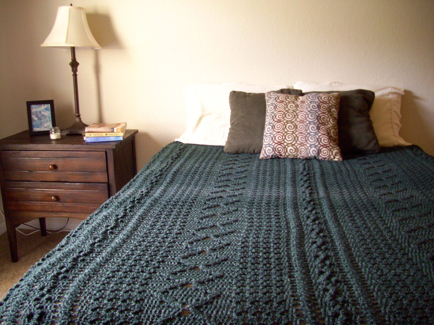 Crochet mixed pattern afghan green heirloom stitch queen zoom dt1010fo