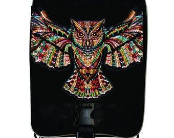 Ethnic Patterned Owl Print Design - Girls Large Black School Backpack