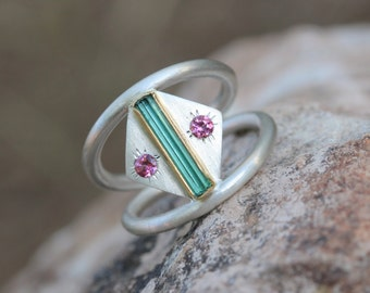 Blue-Green Rough Tourmaline Silver Gold Ring Pink Tourmaline Silver 22k Yellow Teal Gemstone Geometric Native Tribal Mexico - Southwest Bend