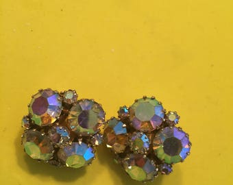Aurora Borealis clip back earrings signed Weiss