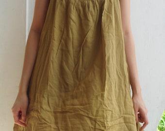 D17, Easy Going Summer Mustard Yellow Brown Cotton Dress