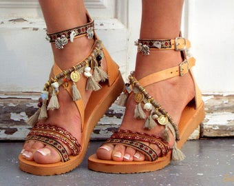 "Leather Boho Sandals, ""Atlantida"", Greek Sandals, Handmade Sandals, brown summer sandals, hippie sandals,  Leather sandals,Made with love"