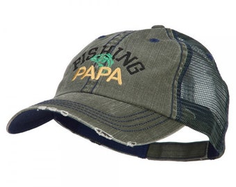 Fishing Papa Embroidered Low Profile Cotton Mesh Cap