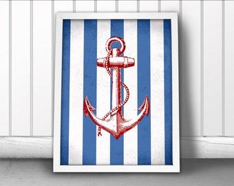 Nautical Anchor Art Print, Navy Stripes Nautical Art Print, Ship Anchor Art Print, Nautical Ocean Sea Art Print, Nautical Art Anchor Poster