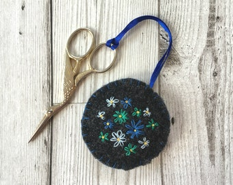 Hand Embroidered Scissor Fob with Blue Flowers, Upcycled Felted Sewing Accessory, Scissor Charm, Sewing Gift, Craft gift