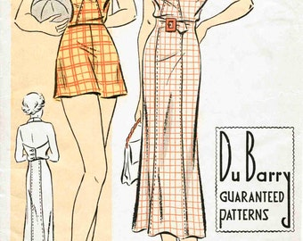 30s 1930s vintage women's sewing pattern reproduction // halter playsuit // shorts // beach romper // sun dress // bust 32 34 36 38 40