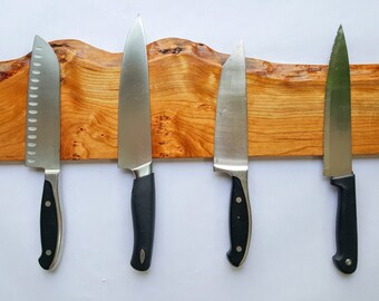 "Magnetic Knife Rack - 24"" Live-Edge Cherry Wood"
