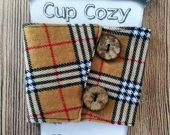 Cup Cozy, Flannel Cup Cozy, Coffee Cup Sleeve, Insulated Cup Cozy, Tea Cup Cozy, Flannel Cup Cozy