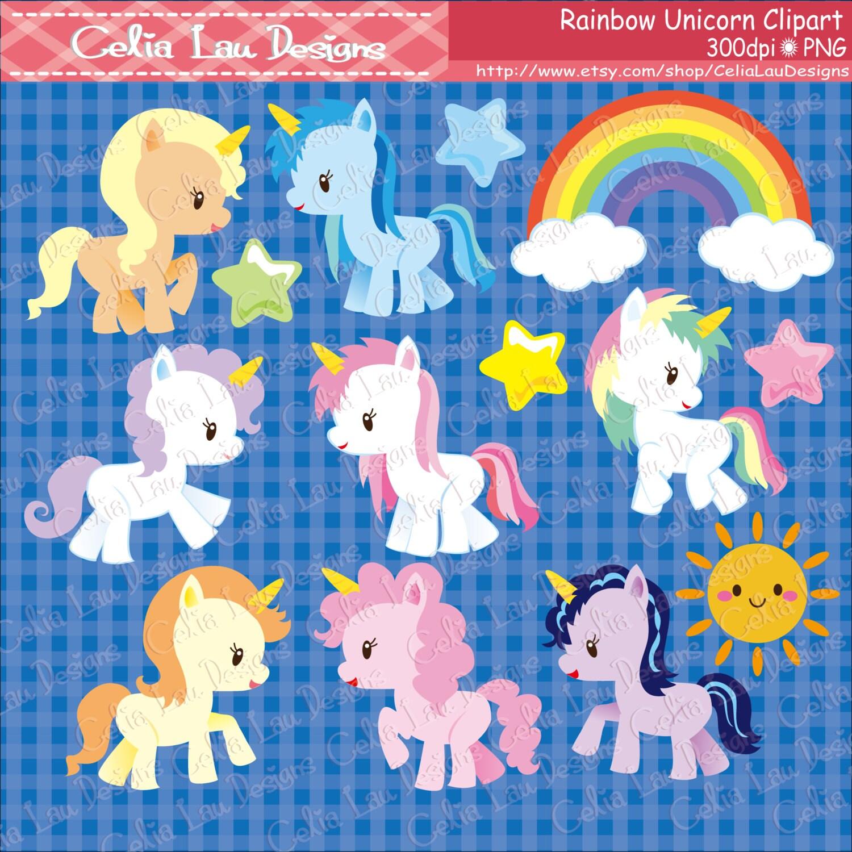 Rainbow Unicorn Clipart/ Cute Unicorn and Rainbow clipart